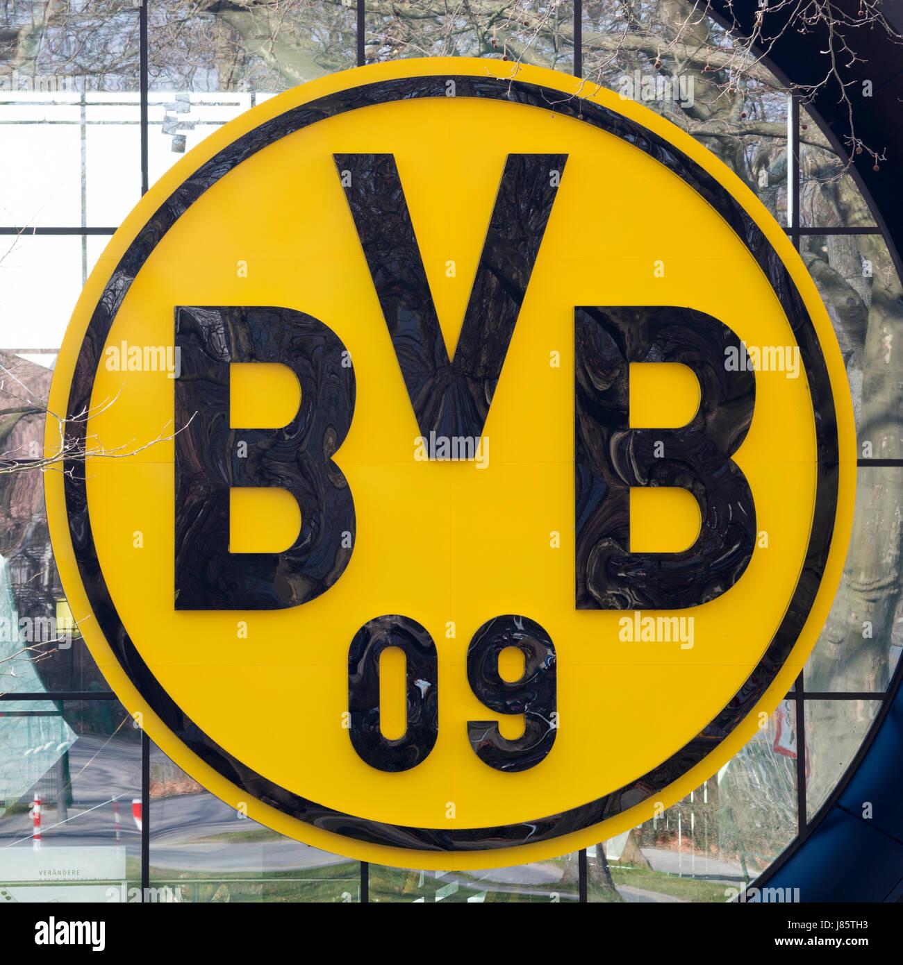 BVB Logo, Signal Iduna Park, Dortmund, Ruhr area, North Rhine-Westphalia, Germany - Stock Image