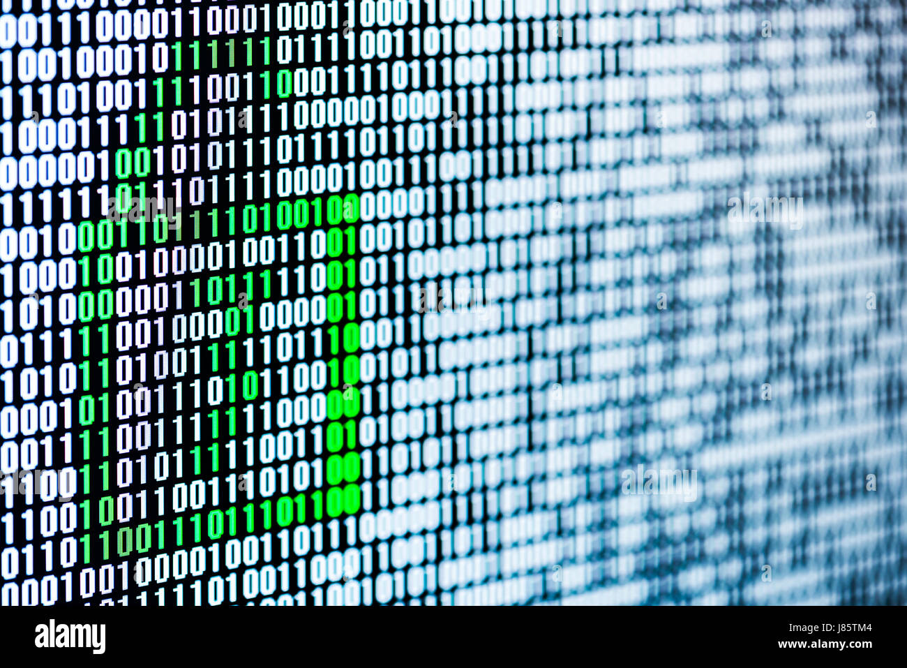 unlocked green locker in a binary sequence figuring uncrypted data on screen - Stock Image