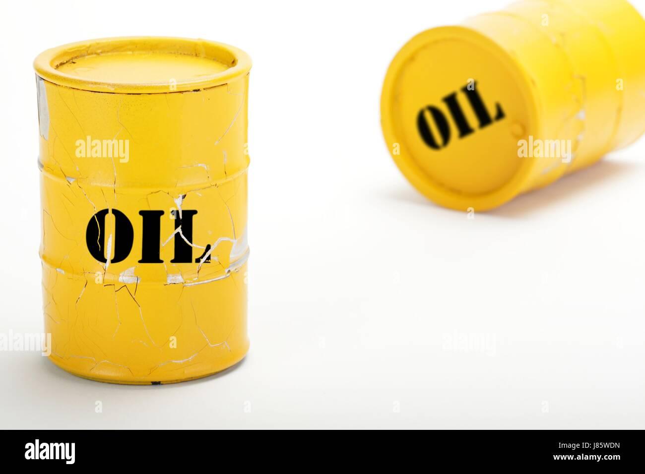 oil barrel yellow 3 Stock Photo