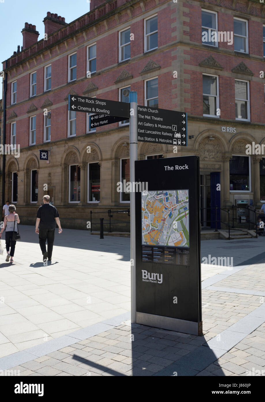 Fingerpost and street signage the rock in bury lancashire - Stock Image