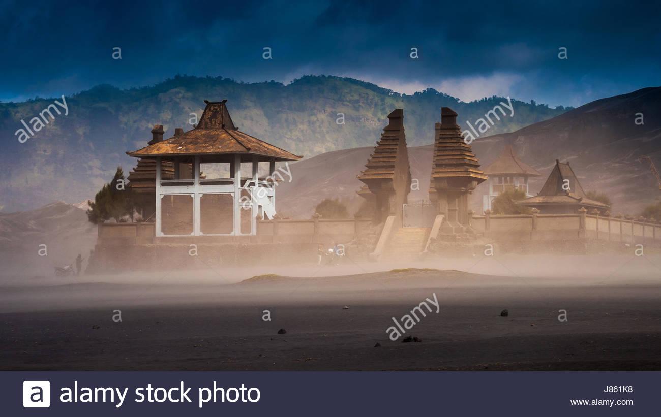 Hindu Temple at Mount Bromo volcanoes in Bromo Tengger Semeru National Park, East Java, Indonesia - Stock Image