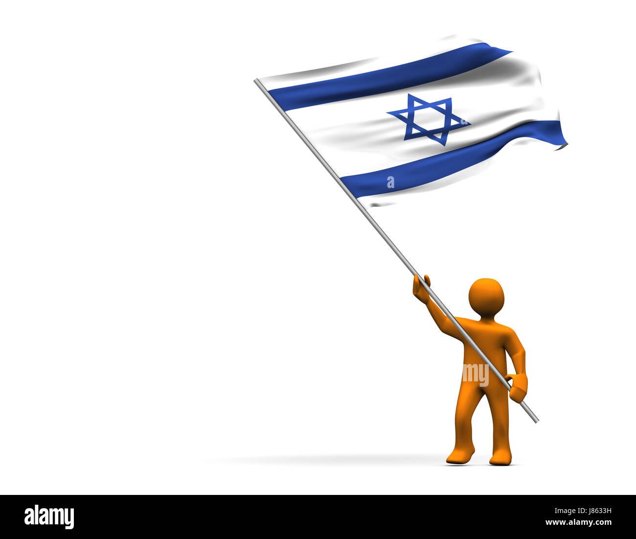 flag israel hebrew jew cartoon man fan sport sports colour person black swarthy - Stock Image