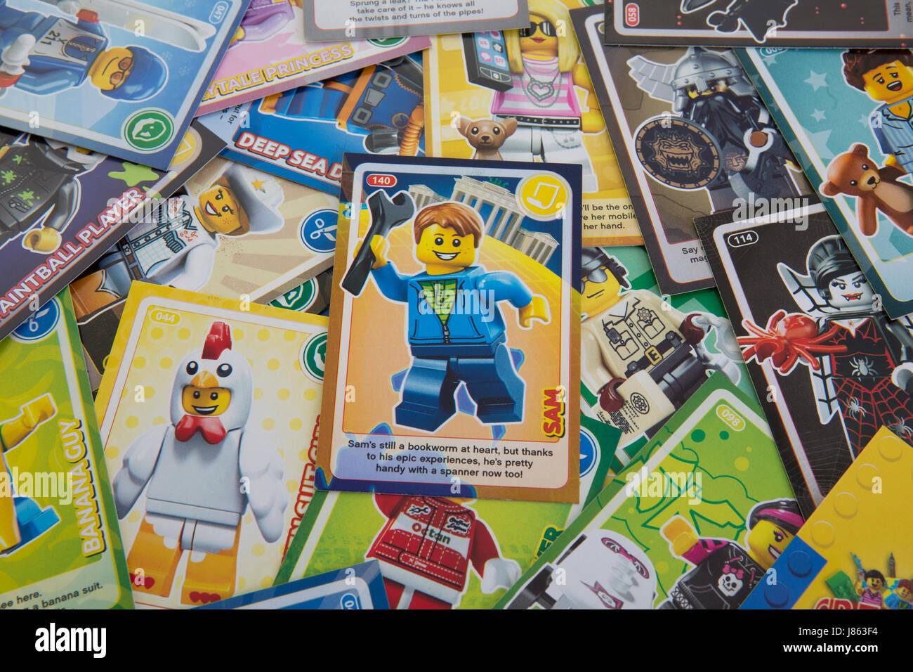 SWINDON, UK - MAY 27, 2017: LEGO Create the World Trading Cards - Stock Image
