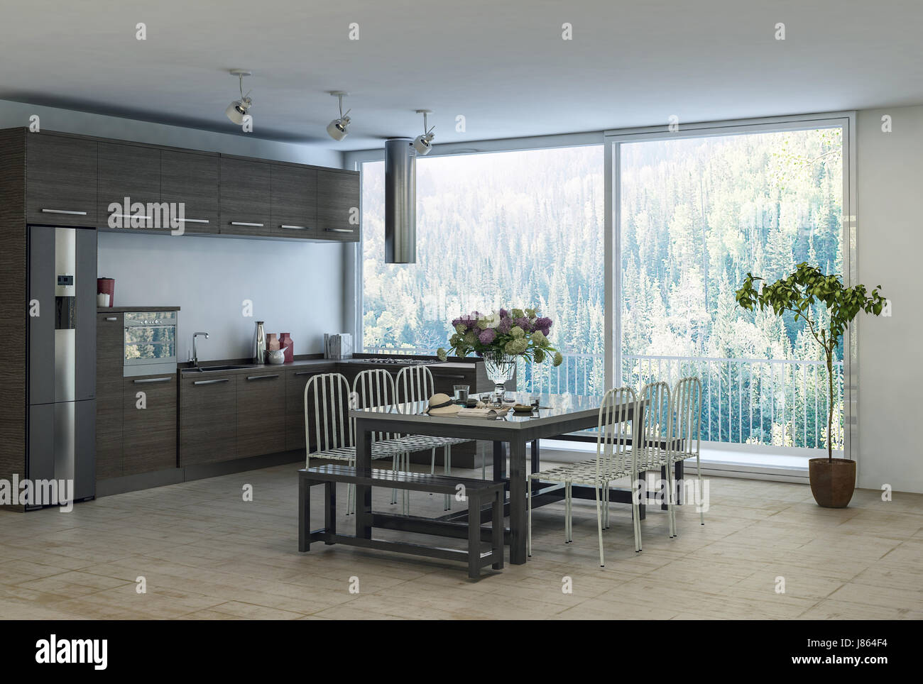 Modern trendy dining kitchen area in an apartment with built in cabinets and appliances along the wall and table Stock Photo