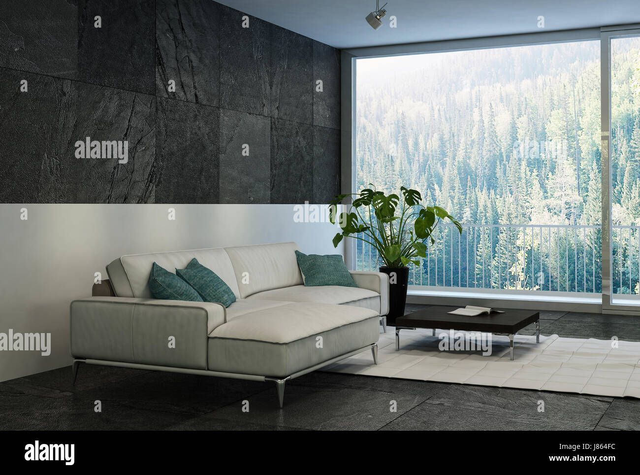 comfortable big living room living. Modern Comfortable Living Room With A Forest View Through Large Floor To Ceiling Glass Windows Couch And Potted Plant In Black Big F