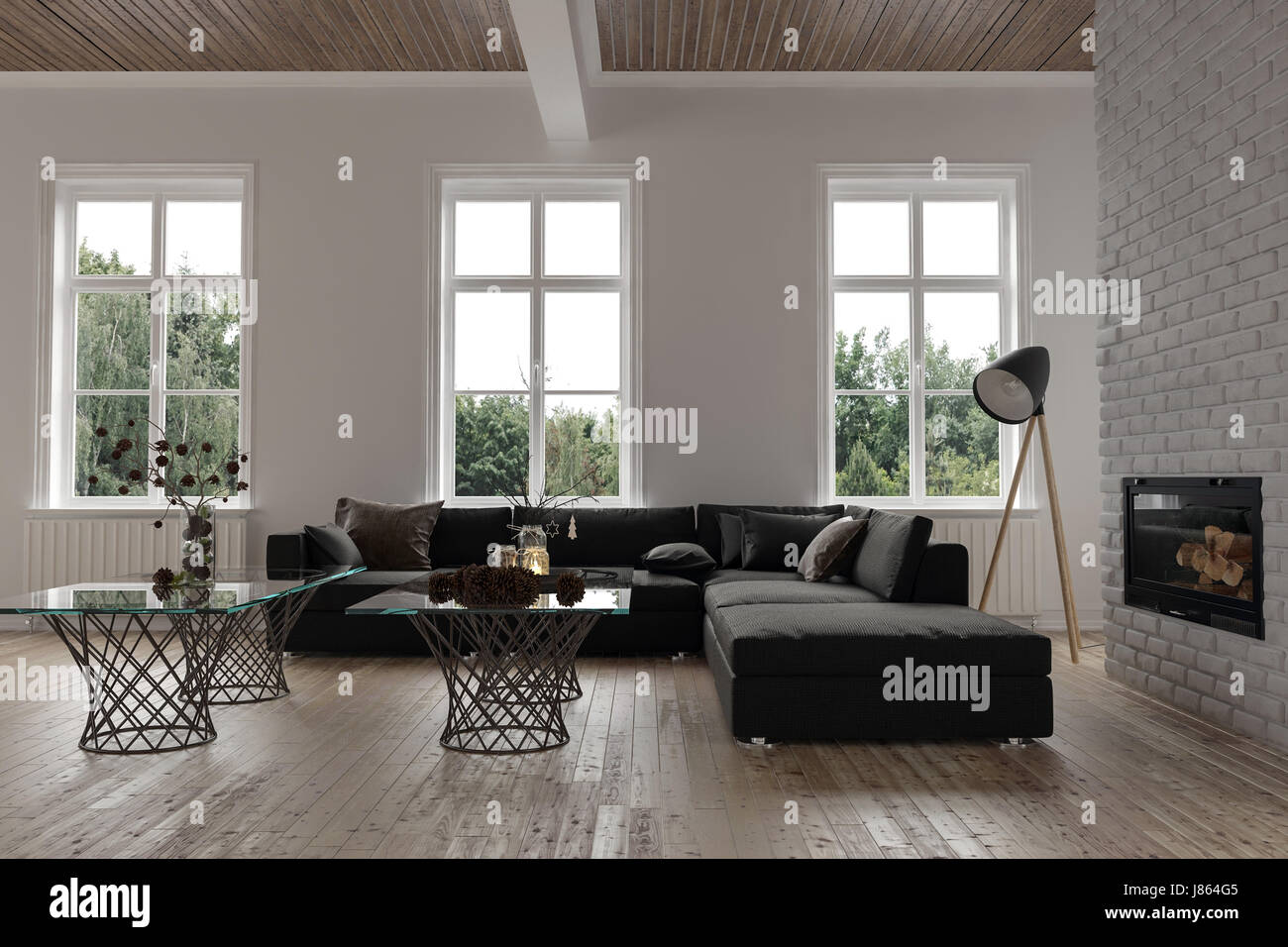 Comfortable corner in a modern living room interior with three windows a large modular couch lamp and glass coffee tables in front of a chimney fir