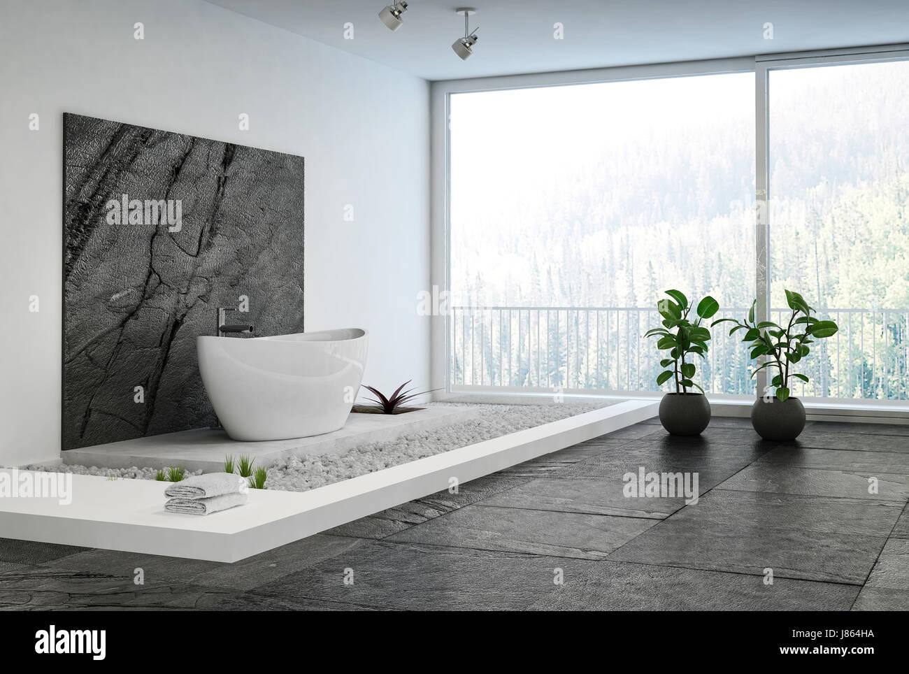 Luxury elegant minimalist bathroom interior with an oval bath on a ...