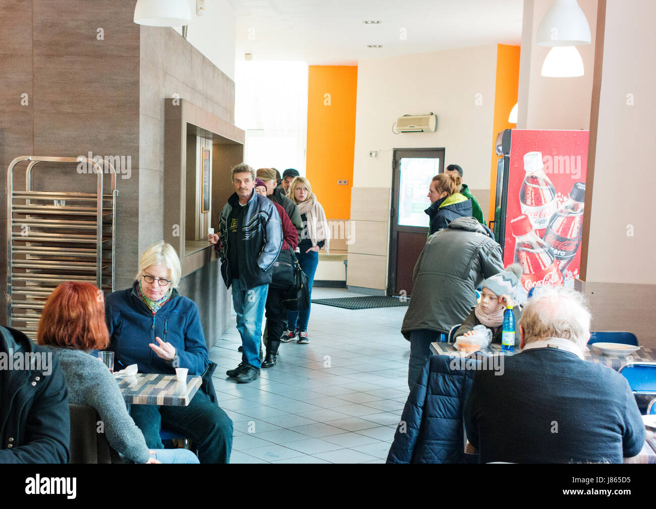A low cost eating place in Warsaw's Praga district known as a milk bar. - Stock Image