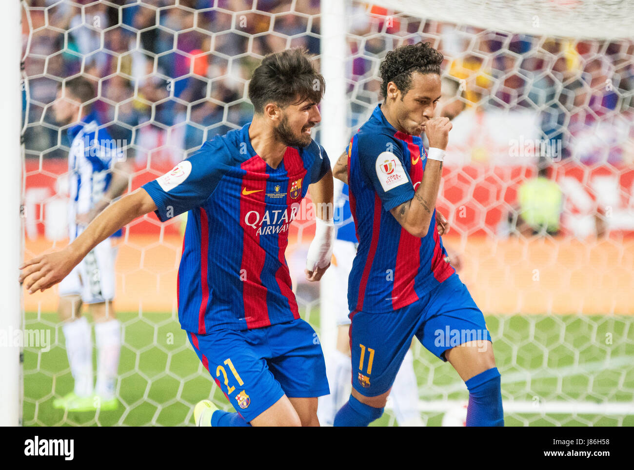 Madrid, Spain. 27th May, 2017. Neymar Jr. (FC Barcelona) celebrates his first goal during the football match of - Stock Image