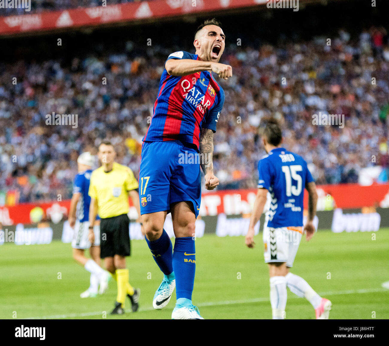 Madrid, Spain. 27th May, 2017. Paco Alcacer (FC Barcelona) celebrates his first goal during the football match of - Stock Image
