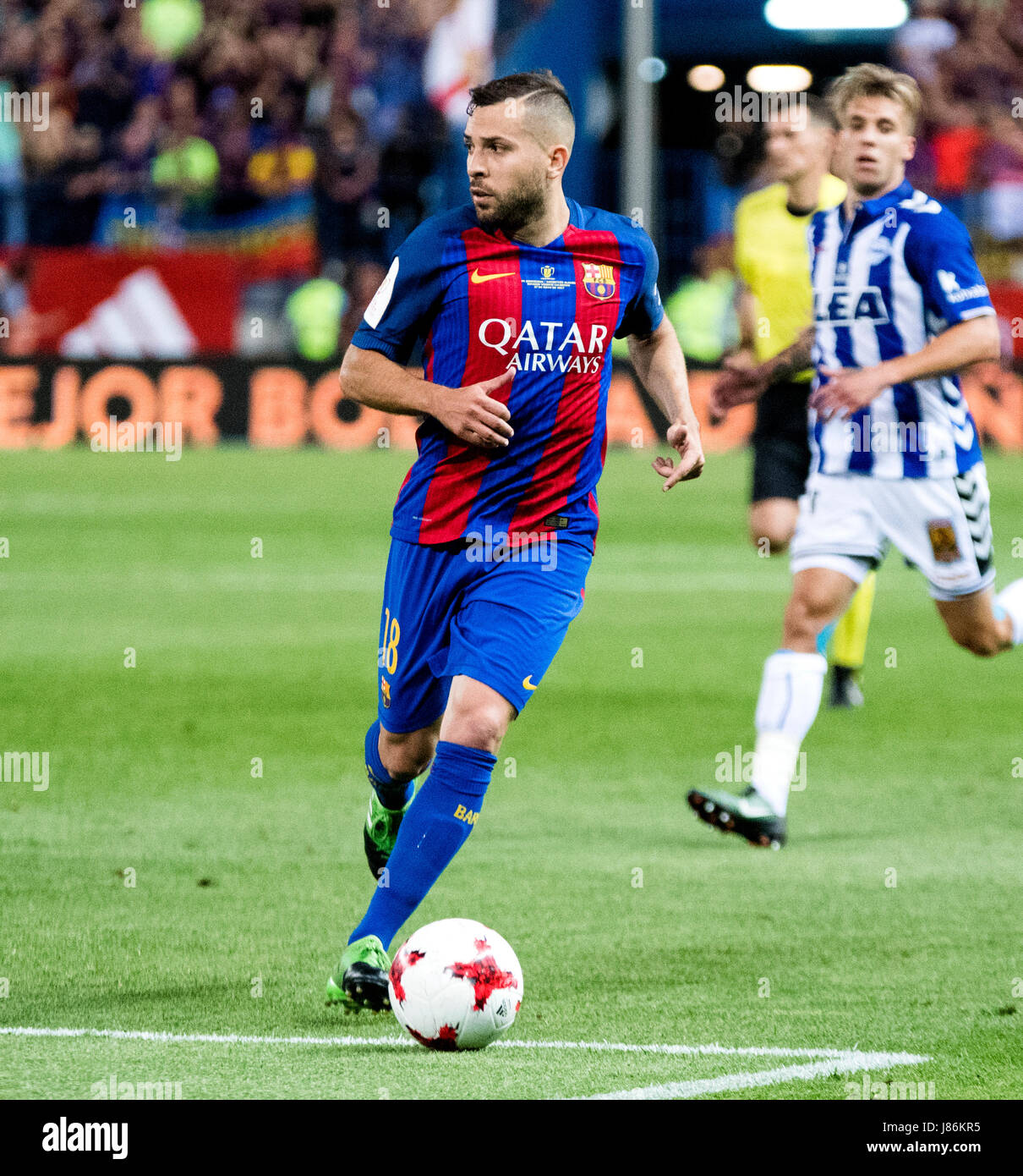 Madrid, Spain. 27th May, 2017. Jordi Alba (FC Barcelona) in action during the football match of Final of Spanish - Stock Image