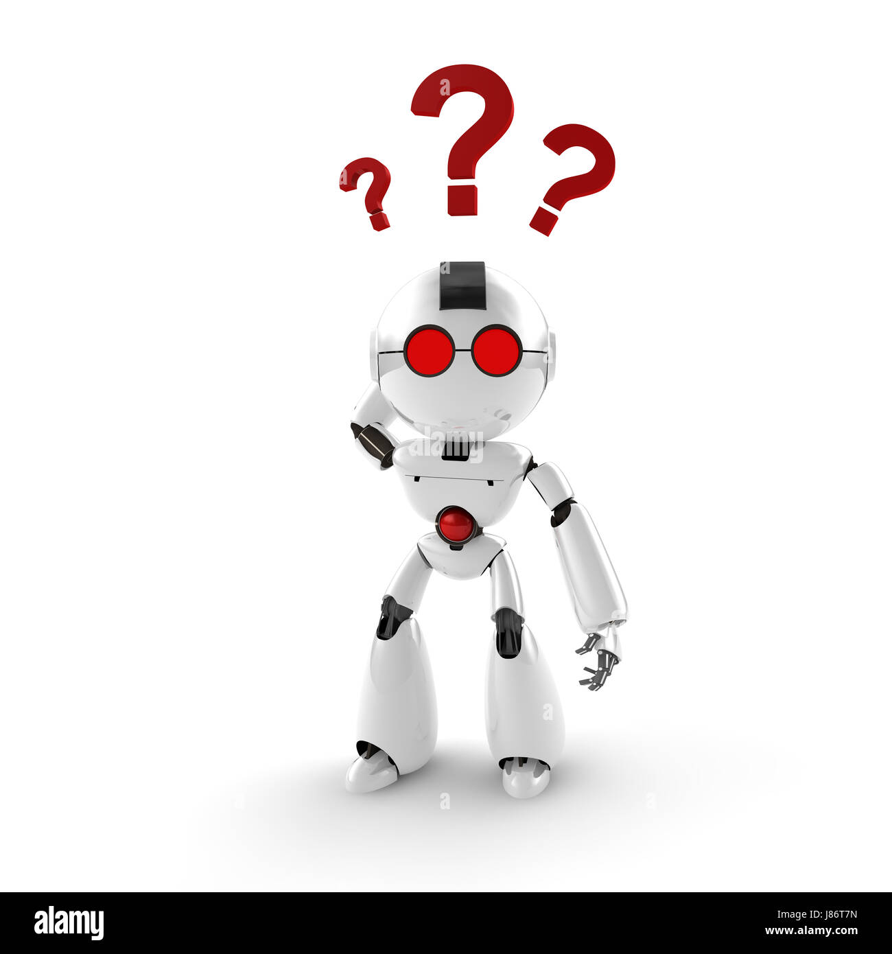 query asked ask question demand question mark helplessness perplexity robot - Stock Image