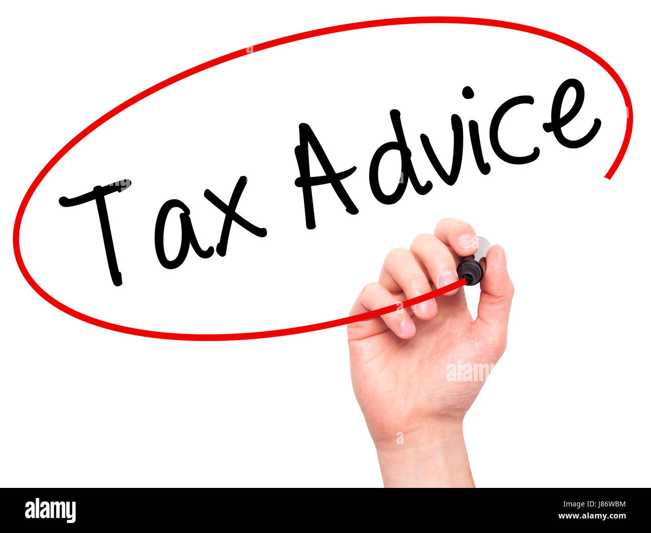 Man Hand writing Tax Advice with black marker on visual screen. Isolated on white. Business, technology, internet - Stock Image