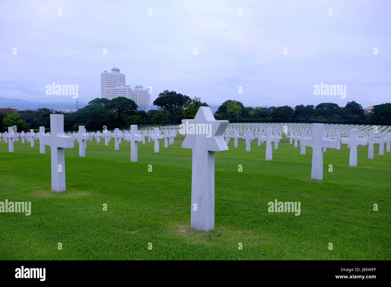 Jewish headstone at the Manila American Cemetery and Memorial which has the largest number of graves of any cemetery Stock Photo