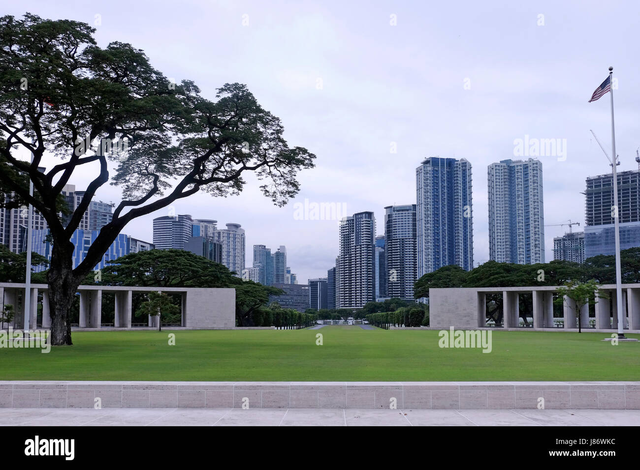 View of the memorial building at the Manila American Cemetery and Memorial which has the largest number of graves Stock Photo