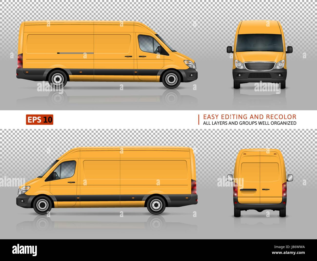 Yellow van vector template for car branding and advertising ...