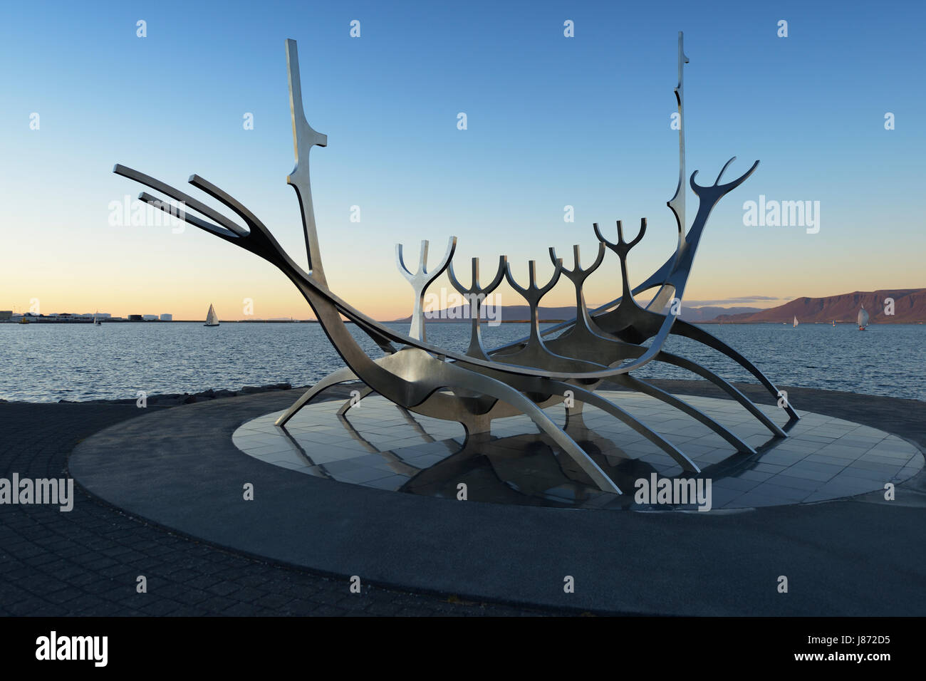 Solfar Sculpture on Saebraut, designed to resemble a Viking Ship, Reykjavik Waterfront, Iceland - Stock Image