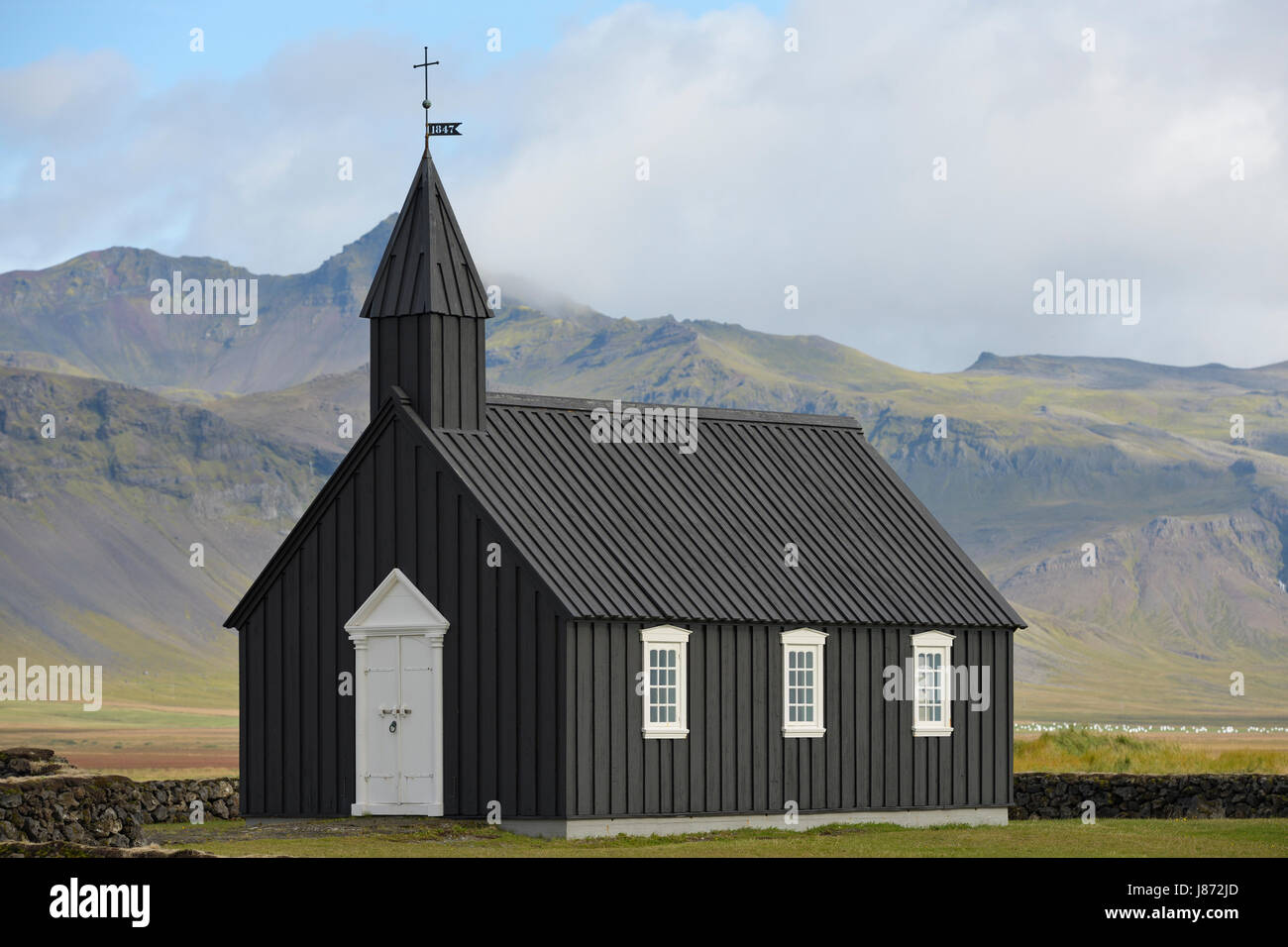 Budir Church built in 1848, reconstructed and consecrated in 1987, Stadarsveit, Snaefellsnes, Iceland - Stock Image