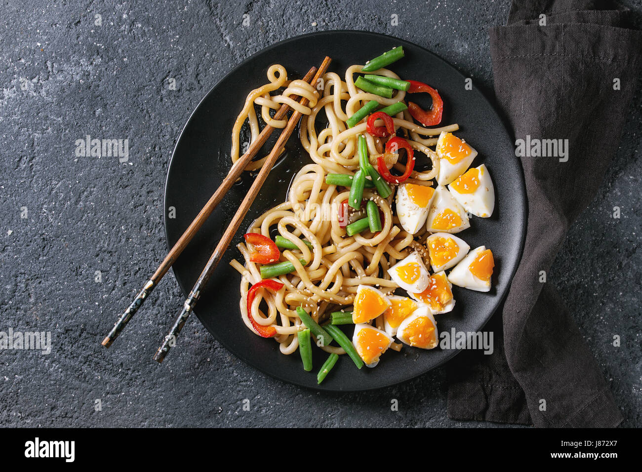 Stir fry udon noodles - Stock Image