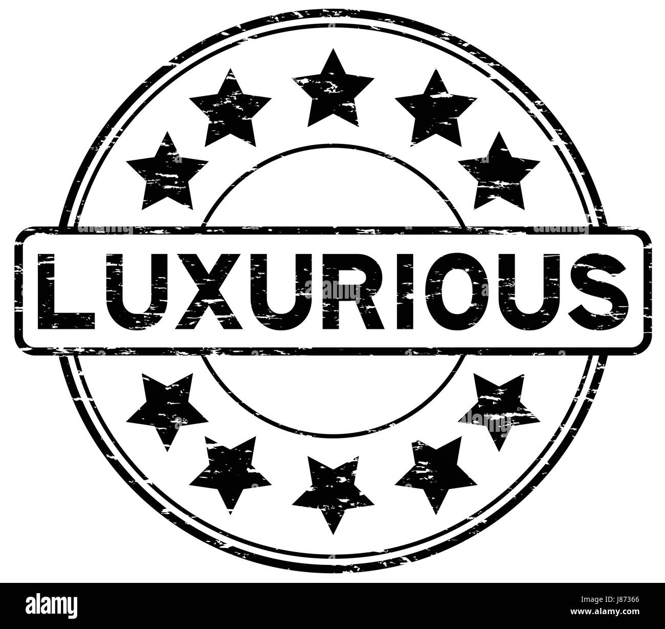 Grunge black luxurious with star icon round rubber seal stamp - Stock Image