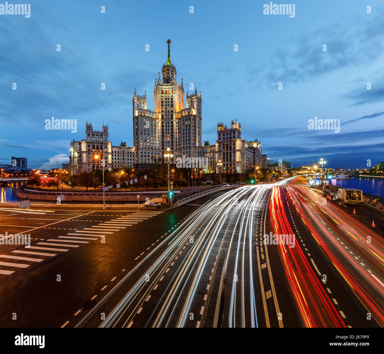 Stalin Skyscraper on Kotelnicheskaya Embankment of the Moscow River, Moscow, Russia Stock Photo