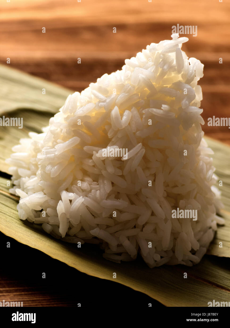 asian, polished, steamed, cooked, starch, carbohydrate, white, rice, food, - Stock Image