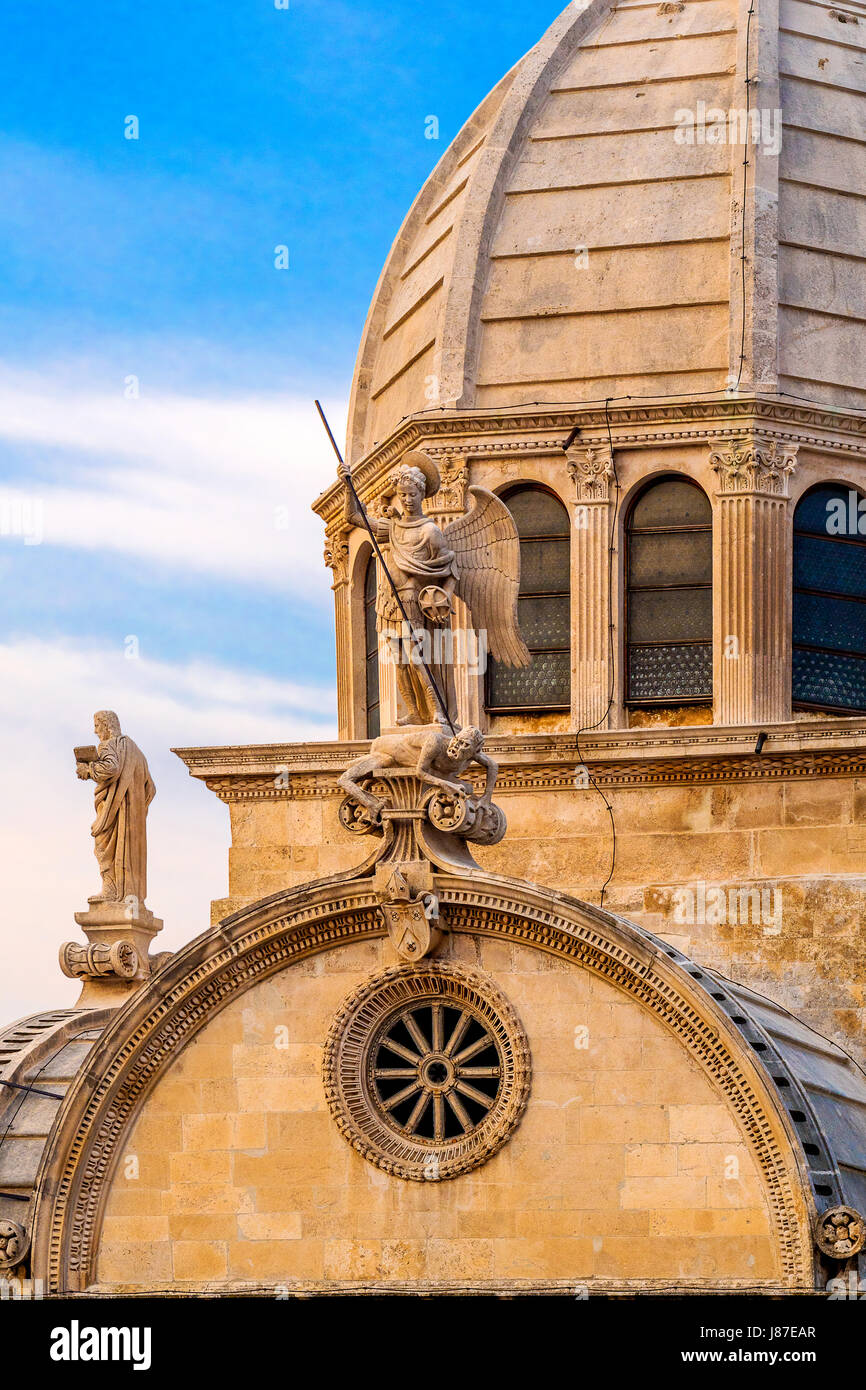 Croatia Dalmatia Sibenik The Cathedral of St. James -dome and statue of St. Michael the Archangel - Stock Image