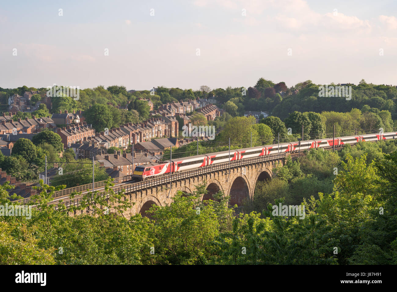 Virgin Intercity 225 express train crosses Durham rail viaduct, England, UK - Stock Image