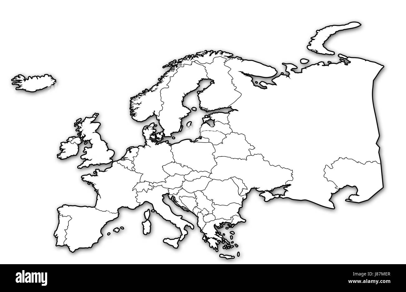 White Map Of Europe.Political Map Europe Black And White Stock Photos Images Alamy