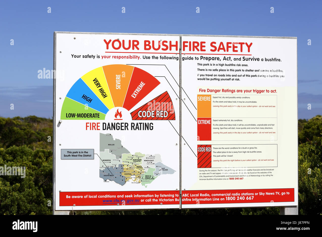 A bush fire safety board near the Great Ocean Road and near to the 12 Apostles. The colours indicate the fire danger - Stock Image