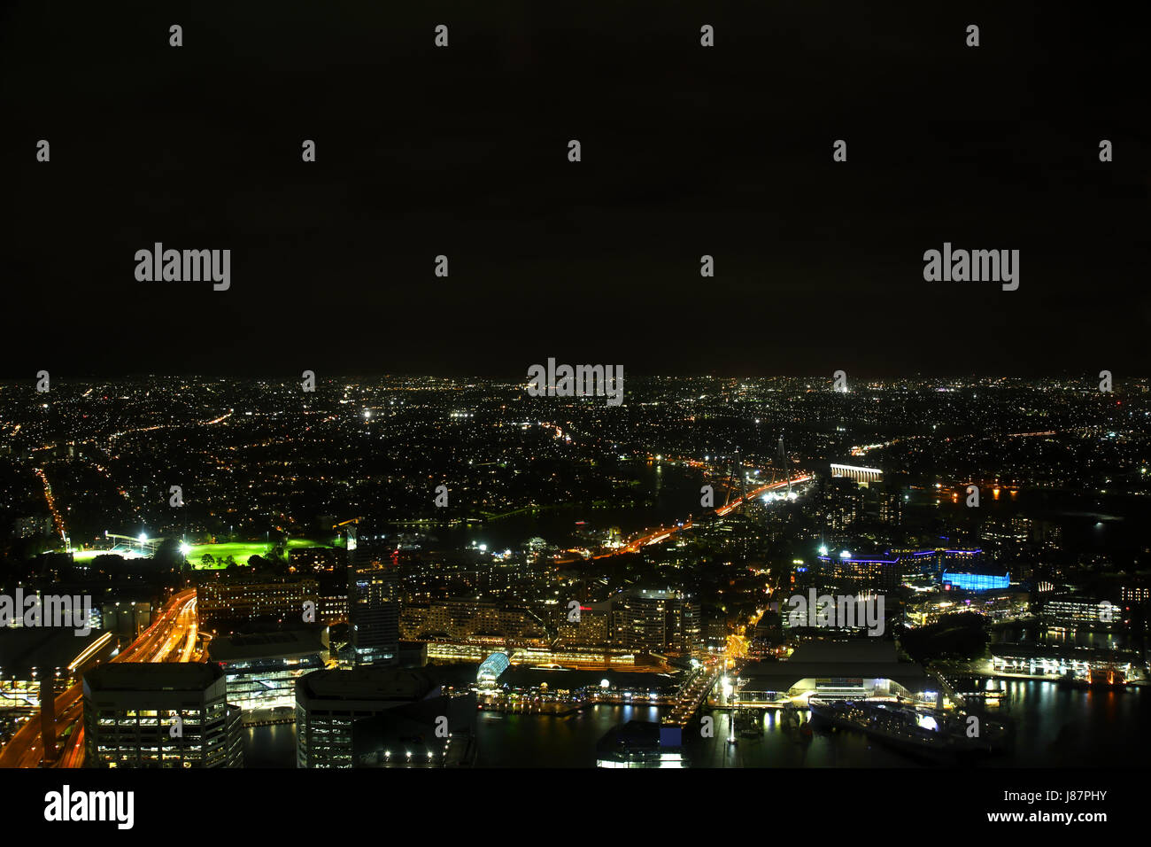 A view of Sydney including part of the harbour taken from the Sydney Eye. There is plenty of room for your text - Stock Image