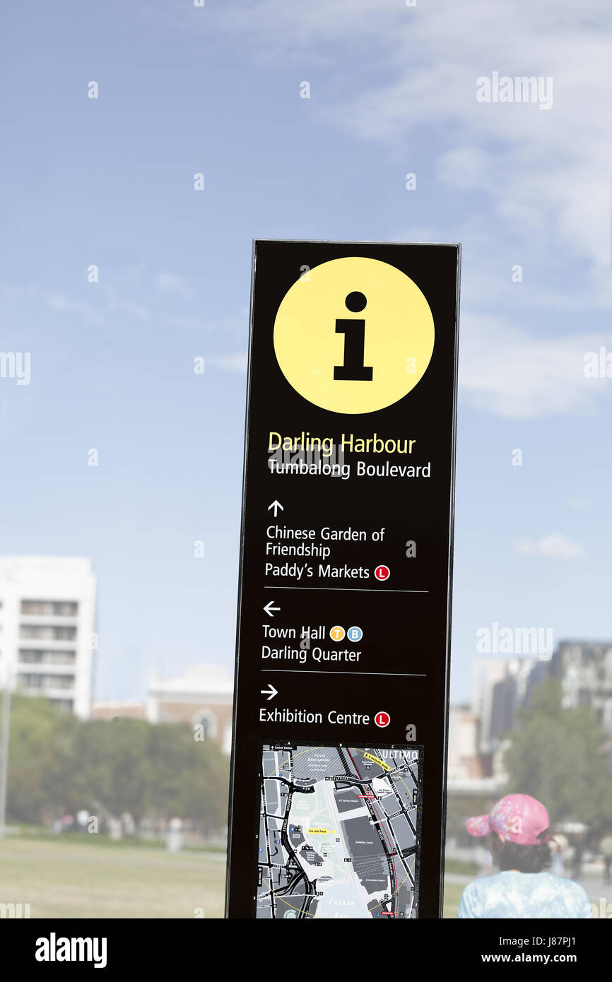 A sign showing the 'i', information symbol at Tumbalong Boulevard, Darling Harbour district, Sydney Australia. - Stock Image