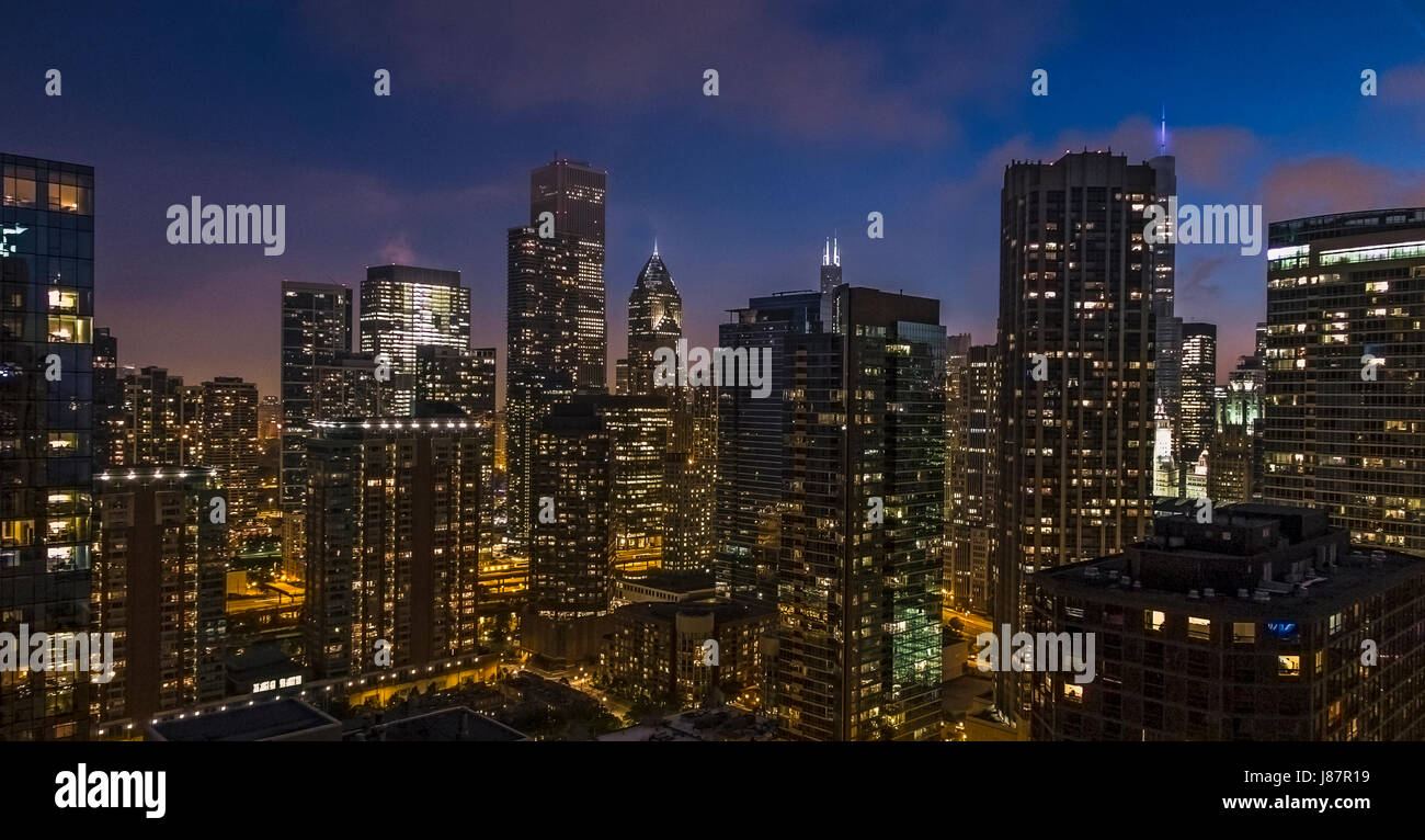 Dusk scenic of Chicago Skyscrapers from Lake front building USA - Stock Image