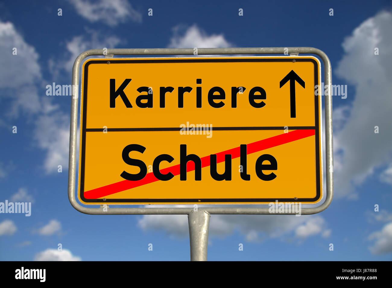 german ortsschild school career Stock Photo