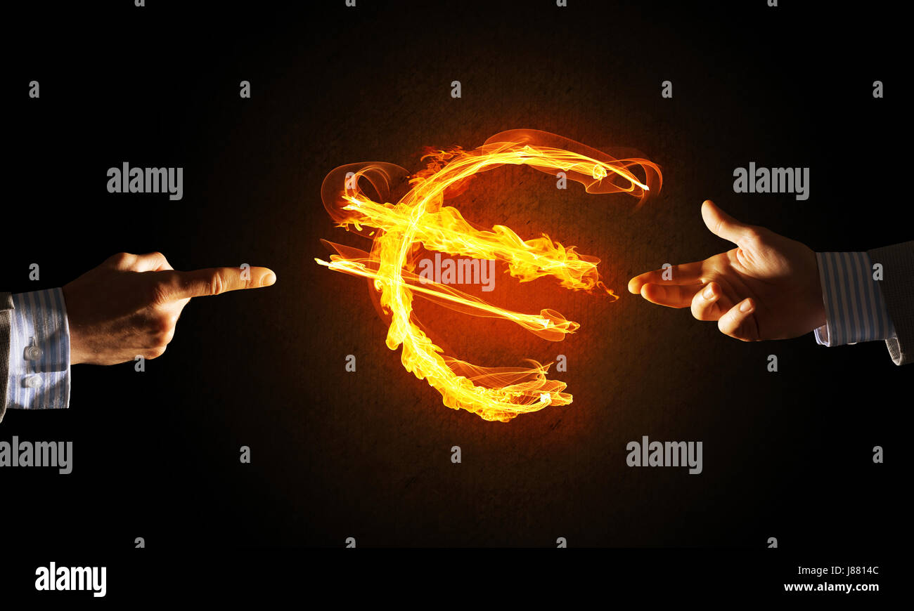 Concept Of Money Making With Euro Currency Fire Symbol On Dark Stock
