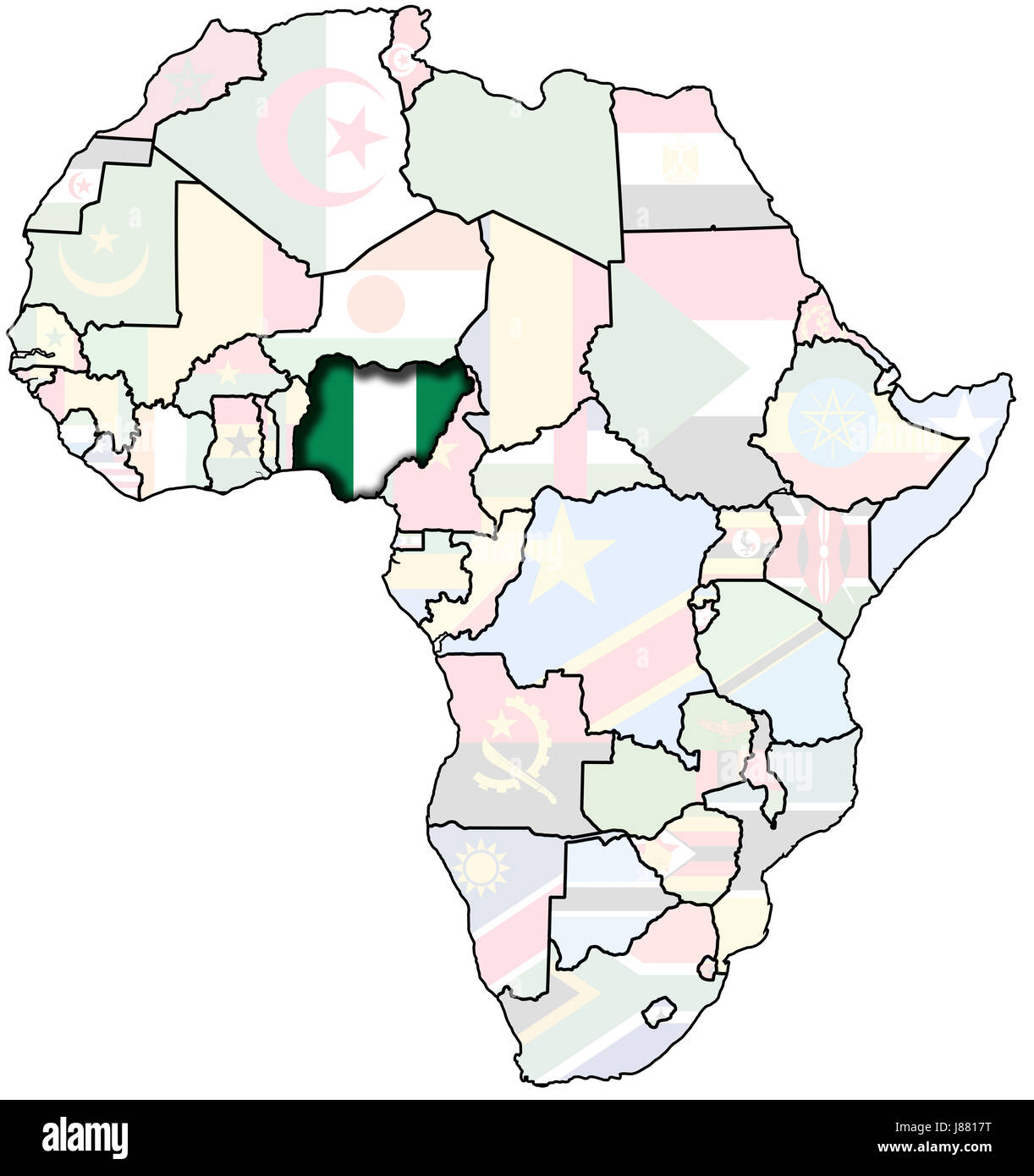 Africa Map Nigeria.Africa New Lines Flag Country Famine Nigeria Map Poor Stock