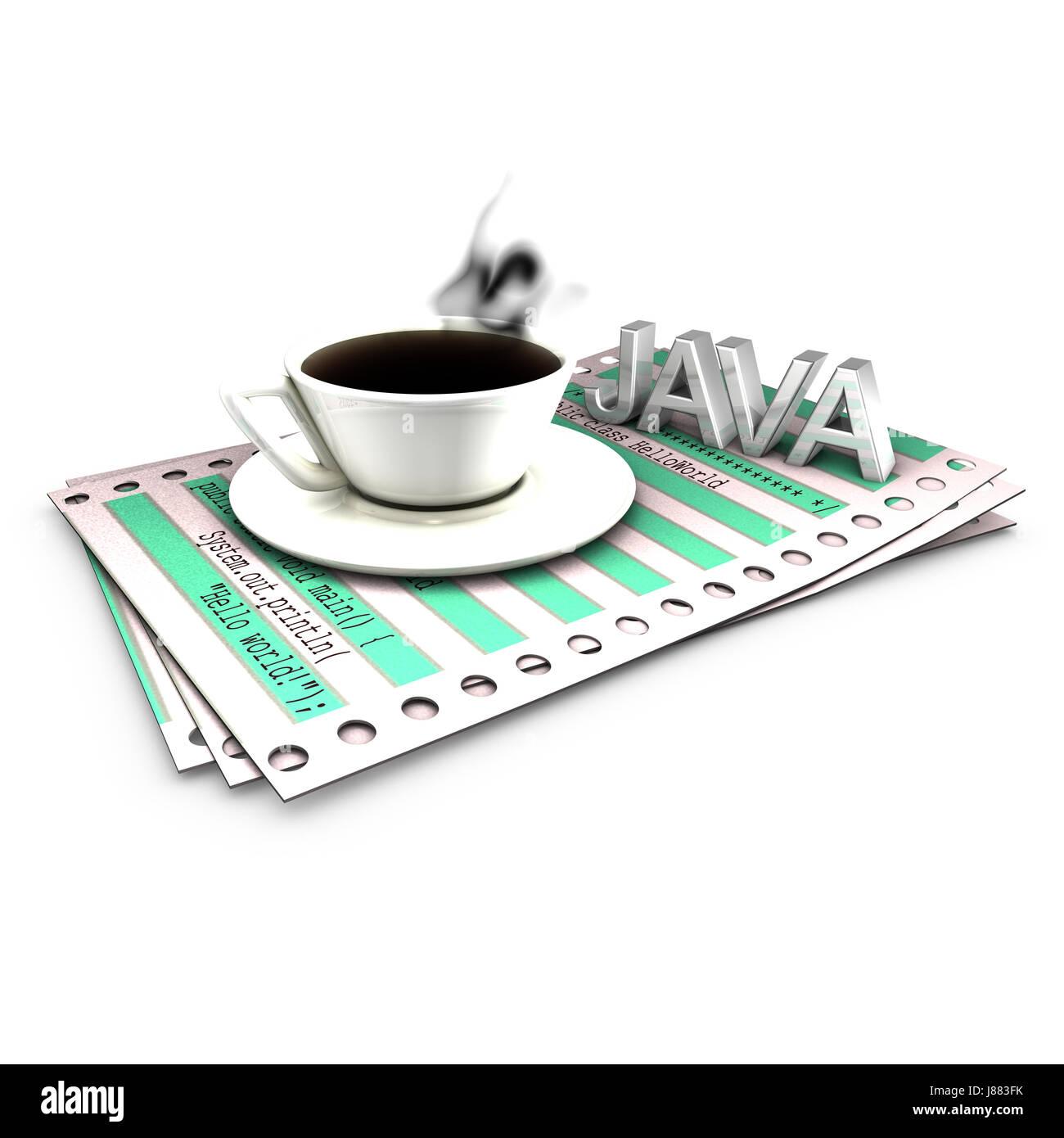 print, language, programming, listing, sheet of paper, paper, coffee, - Stock Image