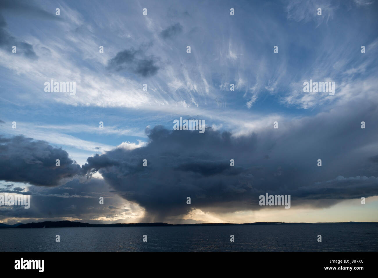 United States, Washington, Puget Sound, rain squall - Stock Image