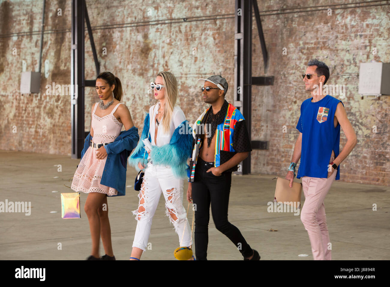 Guests arrive at Carriageworks in Sydney for Mercedes Benz Fashion week Australia - Stock Image