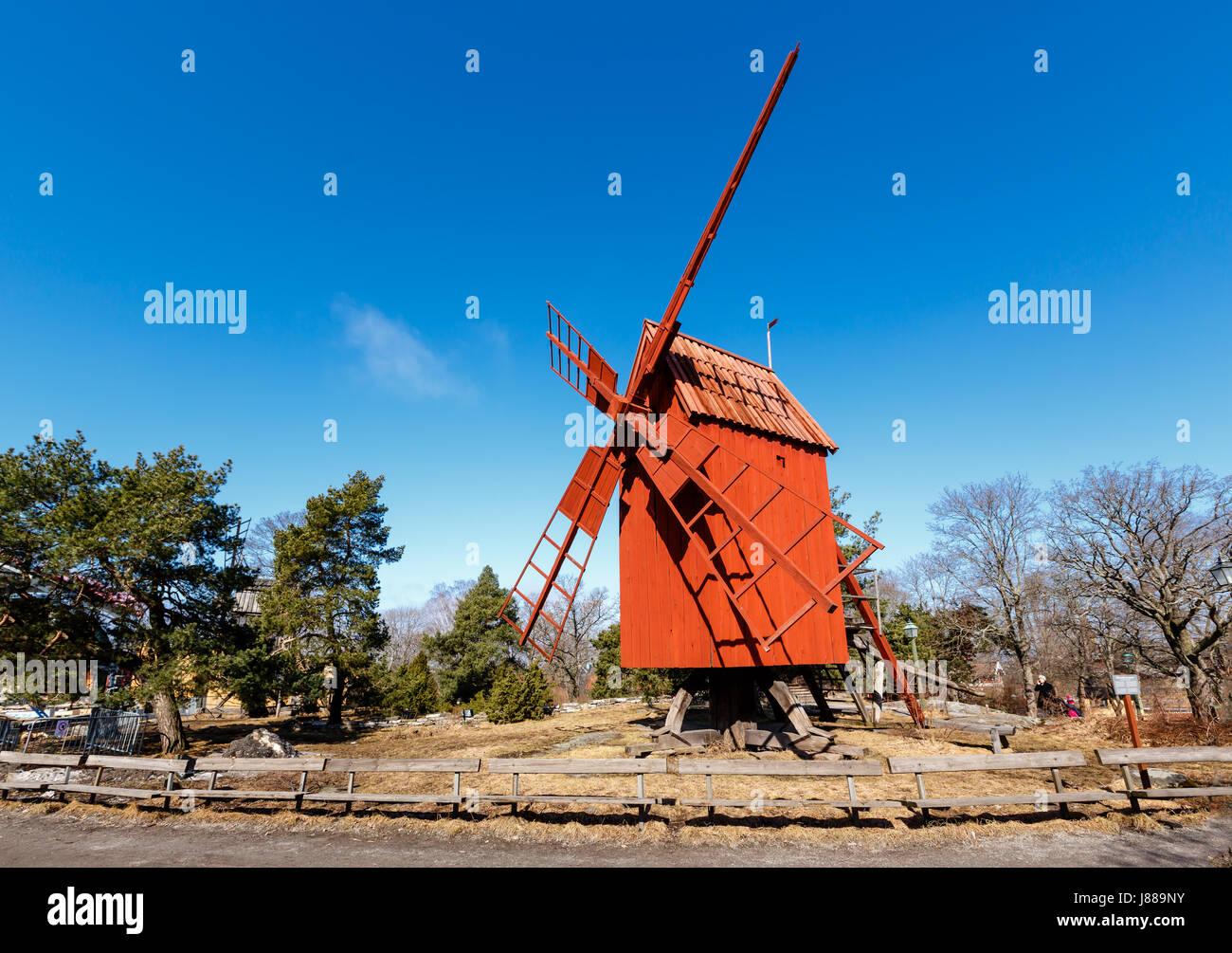 Traditional Swedish Windmill in Skansen National Park, Stockholm, Sweden - Stock Image