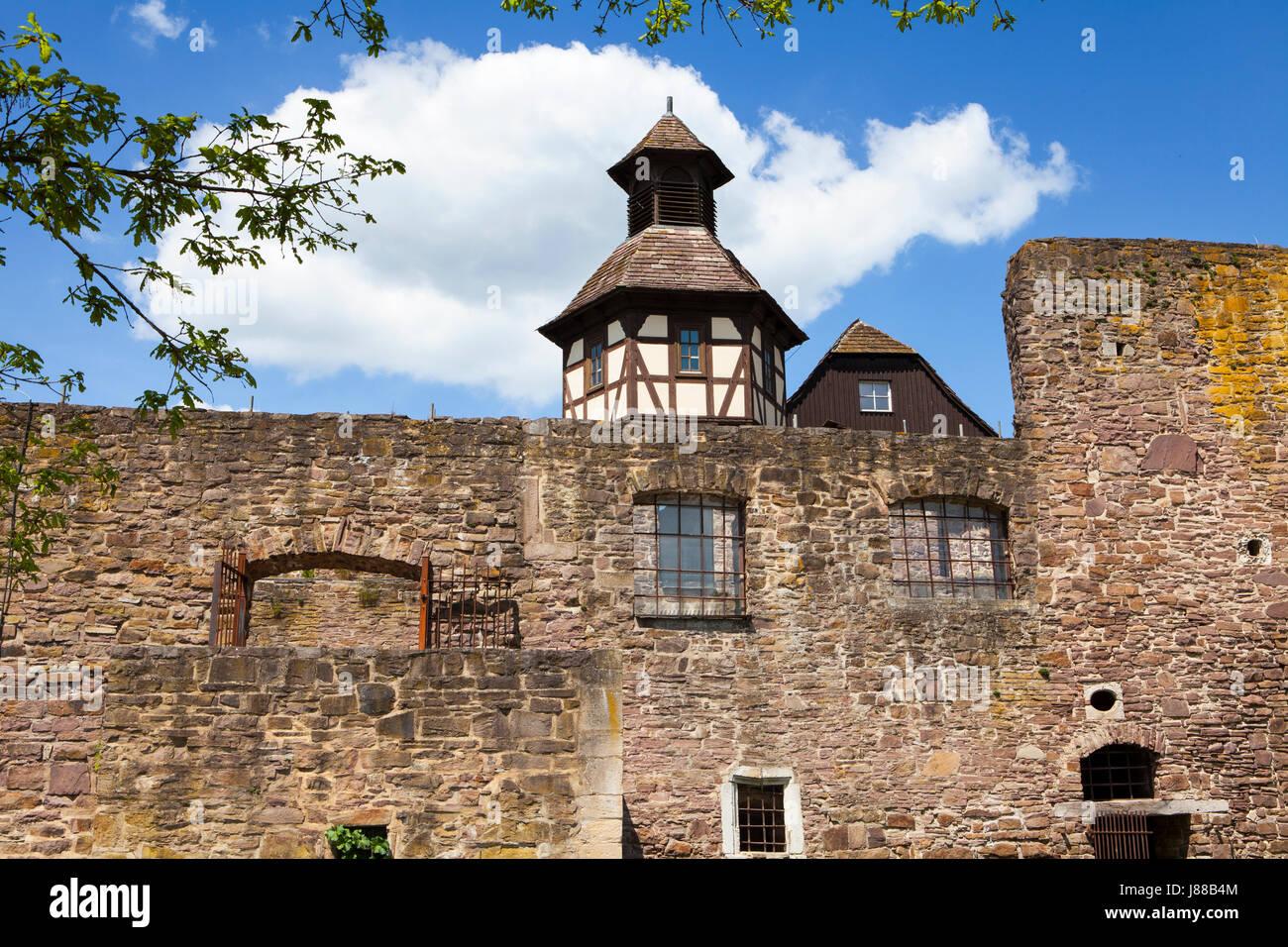Burg Wülmersen castle, region Kassel, Upper Weser Valley,  Weser Uplands, Weserbergland, Reinhardswald, Hesse, Germany Stock Photo