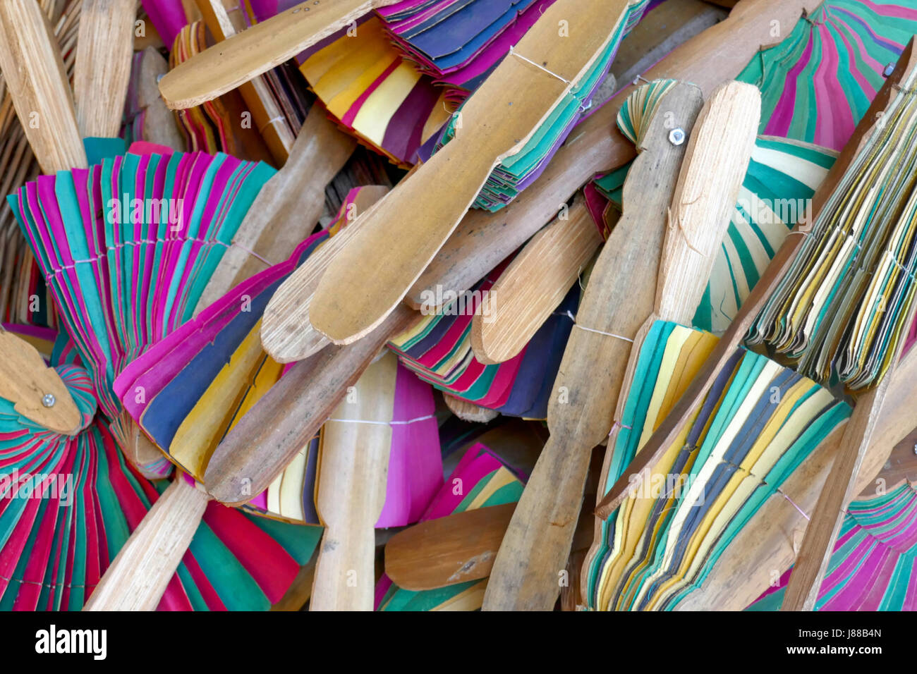 Wooden fans on sale at Siem Reap, Cambodia - Stock Image