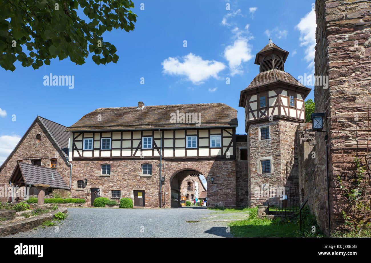 Burg Wülmersen castle, region Kassel, Upper Weser Valley,  Weser Uplands, Weserbergland, Reinhardswald, Hesse, - Stock Image