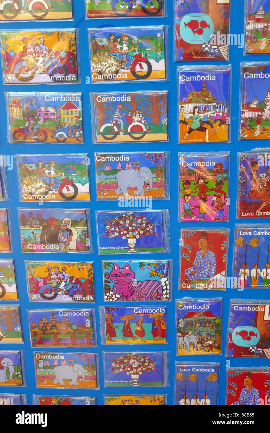 Cards on sale at Siem Reap, Cambodia - Stock Image