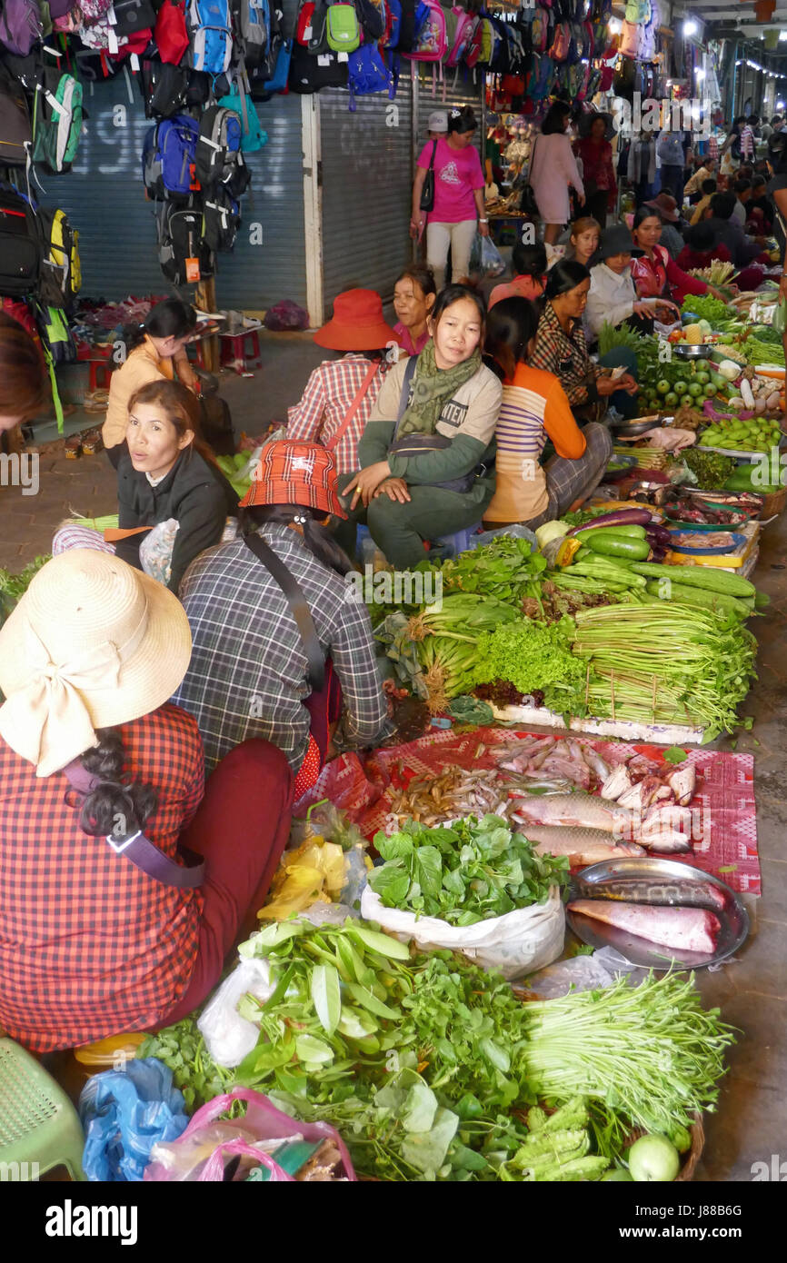 Local market at Siem Reap, Cambodia - Stock Image