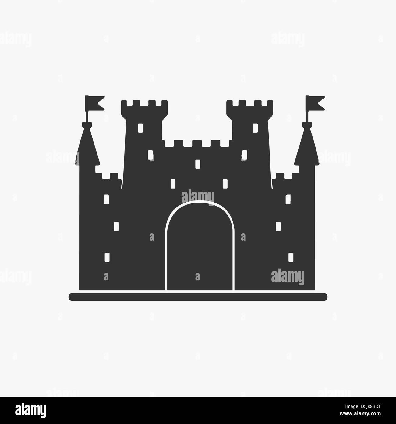 Icon Castle Vector Silhouette - Stock Vector
