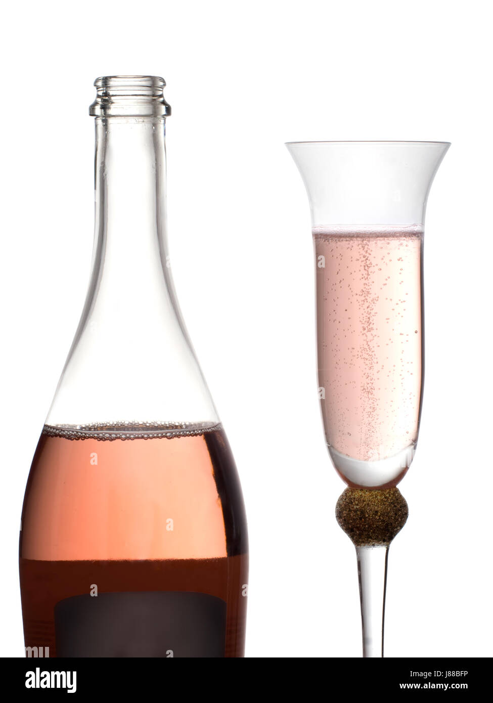 Pink bubbly, champagne. Celebratory drink. - Stock Image