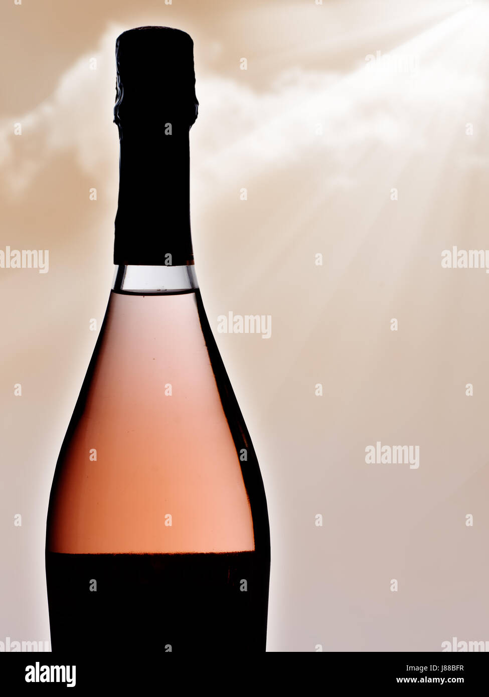 Pink bubbly. Celebratory drink. - Stock Image
