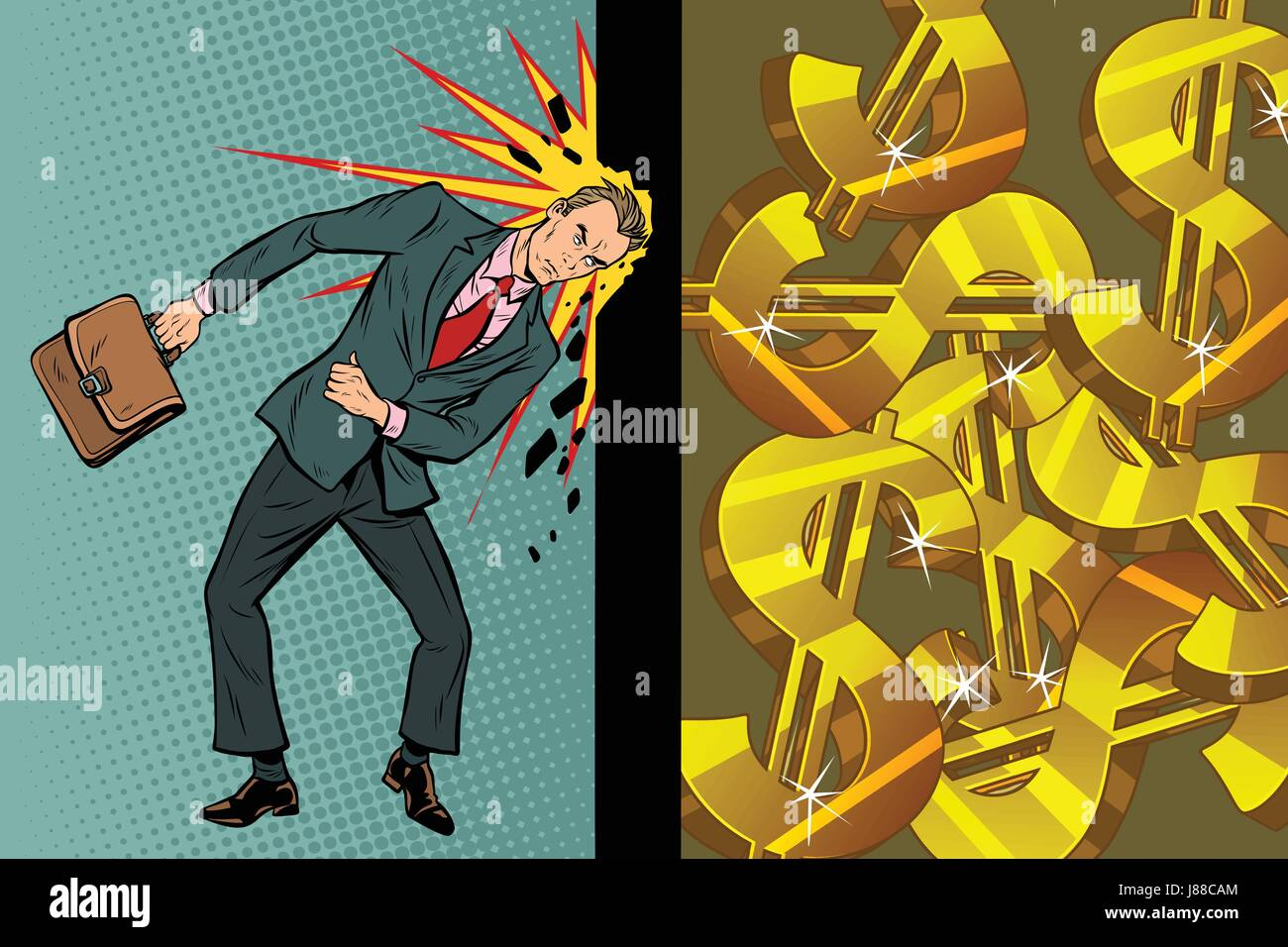 Businessman breaks the wall of his head, dollars and wealth - Stock Vector