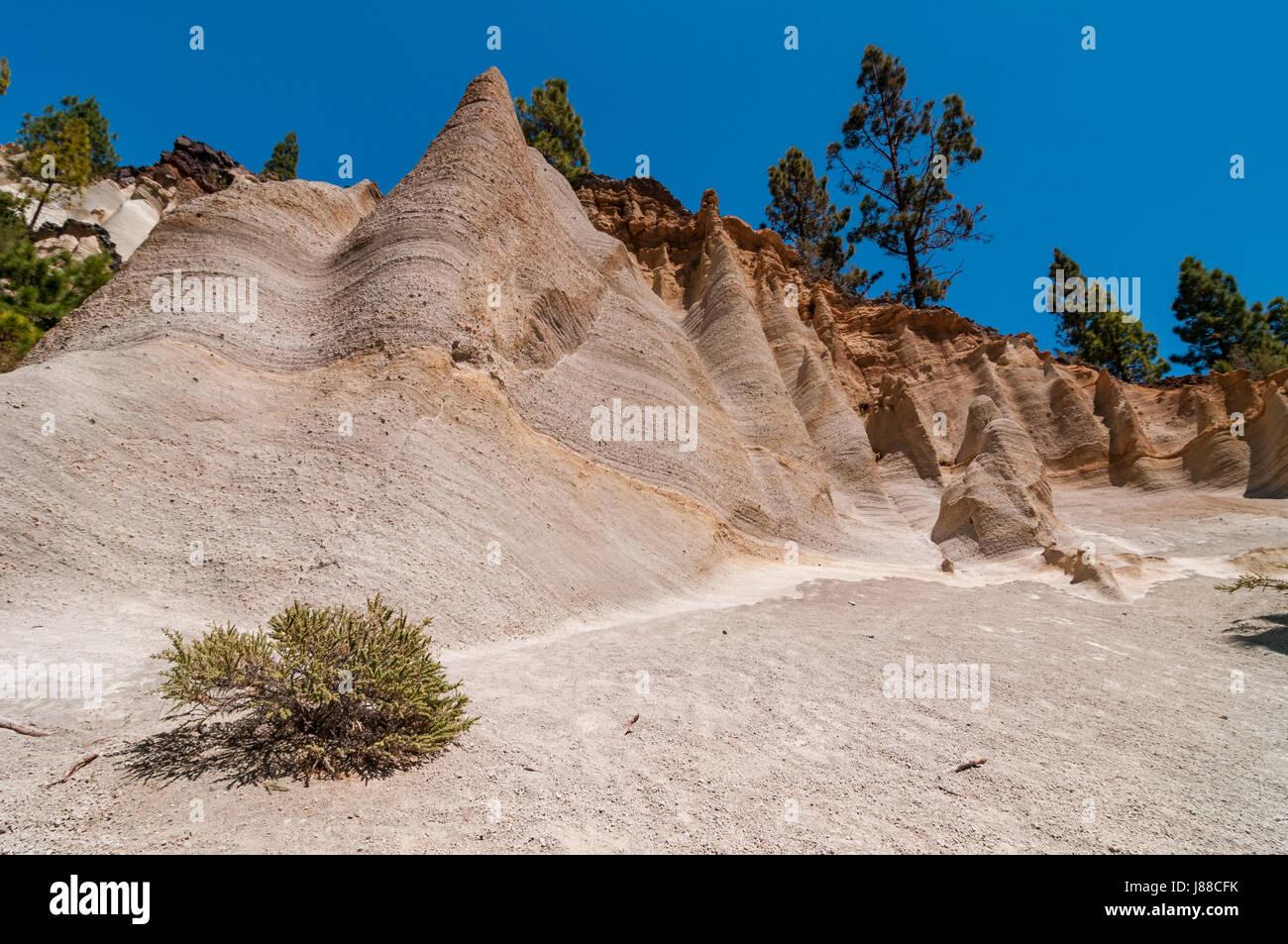 Paisaje Lunar Landscape Showing Erosion Of Cliffs, Tenerife, Spain - Stock Image